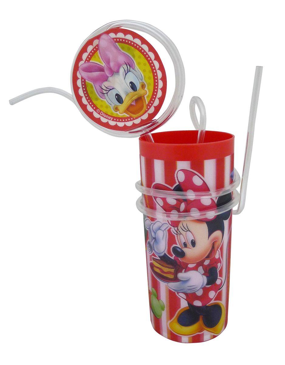 """Яркий пластиковый стакан Disney """"Минни"""" выполнен из безопасного пищевого пластика и оформлен изображениями героев мультфильма """"Клуб Микки Мауса"""" - Минни Маус и Дейзи Дак. Рисунок находится под слоем прозрачного структурного пластика (линзы), создающего эффект объемного изображения, как в 3D кино, и исключает попадание краски в жидкость. В комплект входят соломинка и трубочка, выполненные из полупрозрачного пластика. Соломинка необычно изогнута, при питье можно наблюдать, как жидкость бежит по ней и оформлена вставкой с меняющимися изображениями. Трубочка обвита вокруг стакана. Стакан без трубочки можно использовать как подставку под карандаши или зубные щетки. Порадуйте вашего ребенка таким замечательным подарком. Объем стакана: 330 мл. Диаметр стакана (по верхнему краю): 6 см. Высота стакана: 13,5 см."""