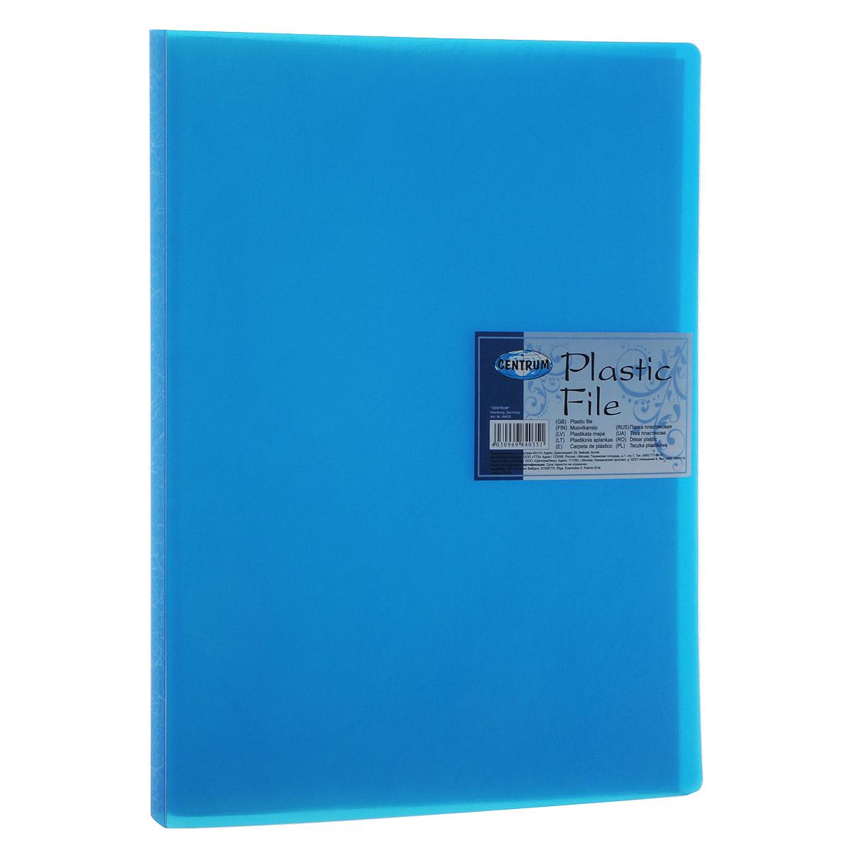 Centrum Папка с файлами Soft Touch 20 листов цвет синийFS-36054Папка Centrum Soft Touch с 20 прозрачными вкладышами-файлами предназначена для хранения и презентации документов формата А4. Папка изготовлена из полупрозрачного фактурного пластика, благодаря чему документы, помещенные в нее, будут надежно защищены. Прочное соединение папки и вкладышей обеспечено за счет их лазерной сварки. Углы папки закруглены.Папка надежно сохранит ваши документы и сбережет их от повреждений, пыли и влаги.