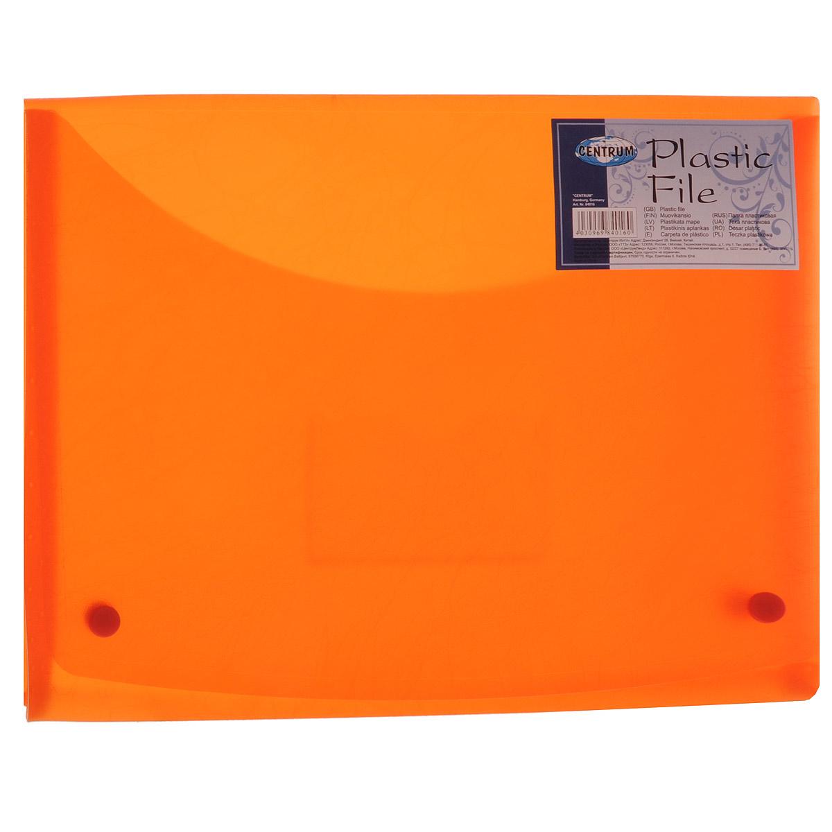 Папка-конверт Centrum Soft Touch, на 2 кнопках, цвет: оранжевый, формат А4ПР4_10465Папка-конверт на кнопках Soft Touch - это удобный и функциональный офисный инструмент, предназначенный для хранения и транспортировки рабочих бумаг и документов формата А4.Папка с двойной угловой фиксацией изготовлена из износостойкого полупрозрачного пластика. Внутри, под клапаном расположен небольшой кармашек для заметок. Папка оформлена оригинальным тиснением.Папка - это незаменимый атрибут для студента, школьника, офисного работника. Такая папка надежно сохранит ваши документы и сбережет их от повреждений, пыли и влаги.