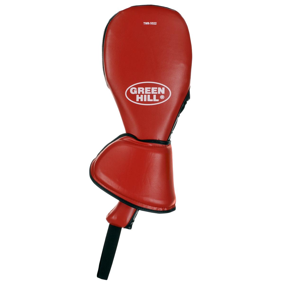 Ракетка для тхэквондо Green Hill, двойная, цвет: красный. TWR-5022TWR-5022Ракетка для тхэквондо Green Hill предназначена для отработки ударов во время тренировочных занятий по тхэквондо и другим единоборствам. Двойная, с защитой кисти. Верх выполнен из искусственной кожи, наполнитель - пенополиуретан.