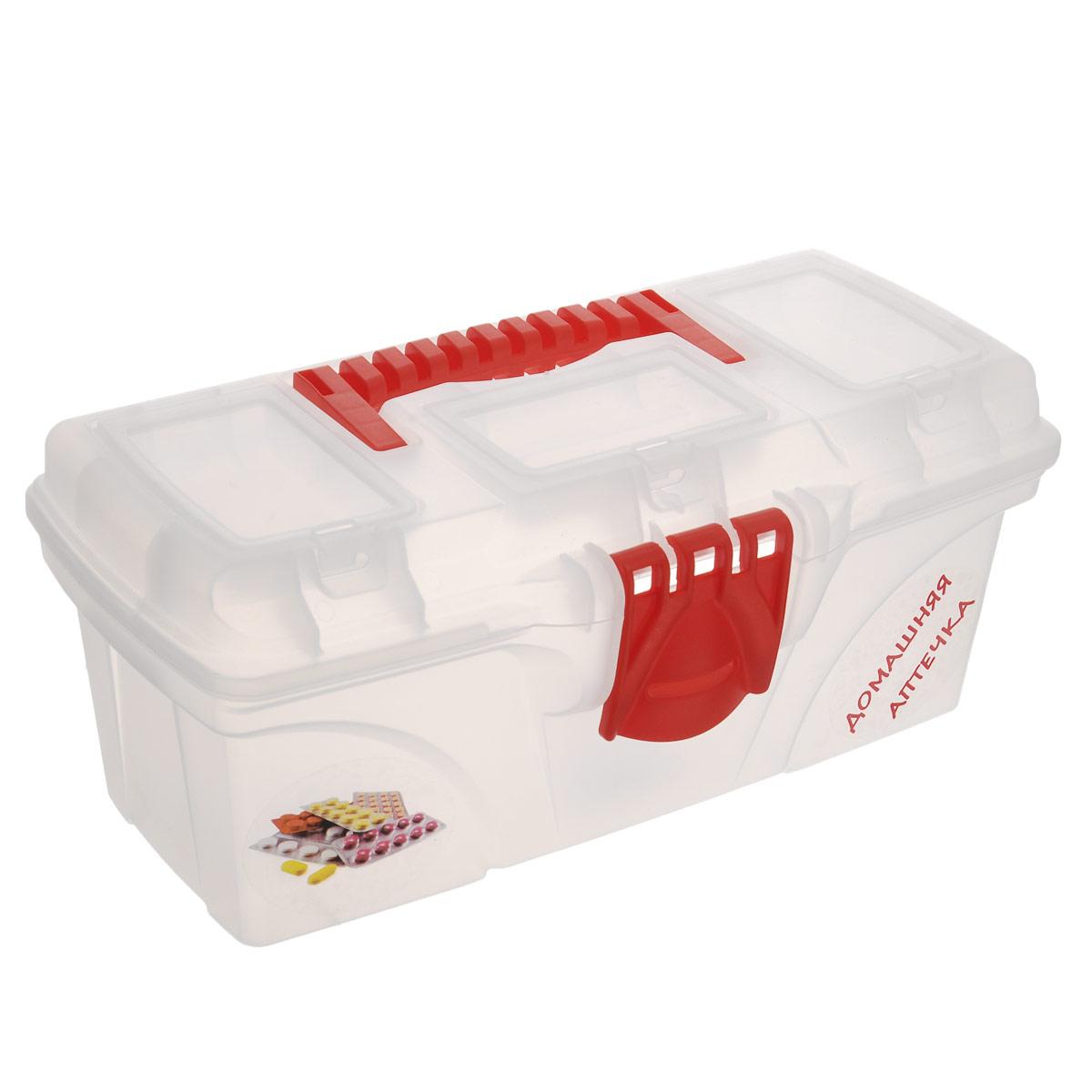 Ящик для лекарств Idea Домашняя аптечка, 32 х 16,5 х 13,5 см41619Ящик Idea Домашняя аптечка изготовлен из прочного пластика и предназначен для хранения и переноски медикаментов. Вместительный, внутри имеет большое главное отделение. Ящик закрывается при помощи защелки, которая не допускают случайного открывания. Крышка ящика оснащена тремя прозрачными органайзерами, которые закрываются на защелку. Для более комфортного переноса в руках, на крышке предусмотрена удобная ручка. Ящик Idea Домашняя аптечка поможет вам хранить все лекарства в одном месте.