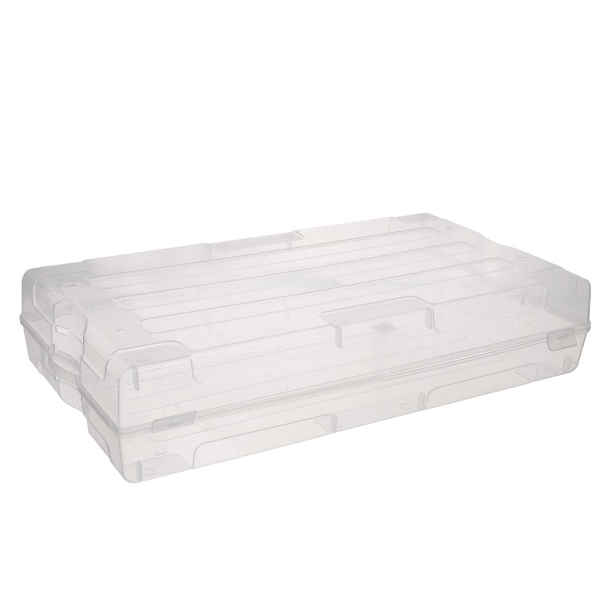 Коробка для хранения обуви Idea, 61 х 34 х 13 смМ 2870Коробка Idea изготовлена из прозрачного пластика. Изделие специально предназначено для хранения одной пары мужской обуви. Закрывается коробка на две защелки.Коробка имеет ручки для удобства ее транспортировки.Коробка для хранения Idea - идеальное решение для аккуратного хранения вашей обуви.