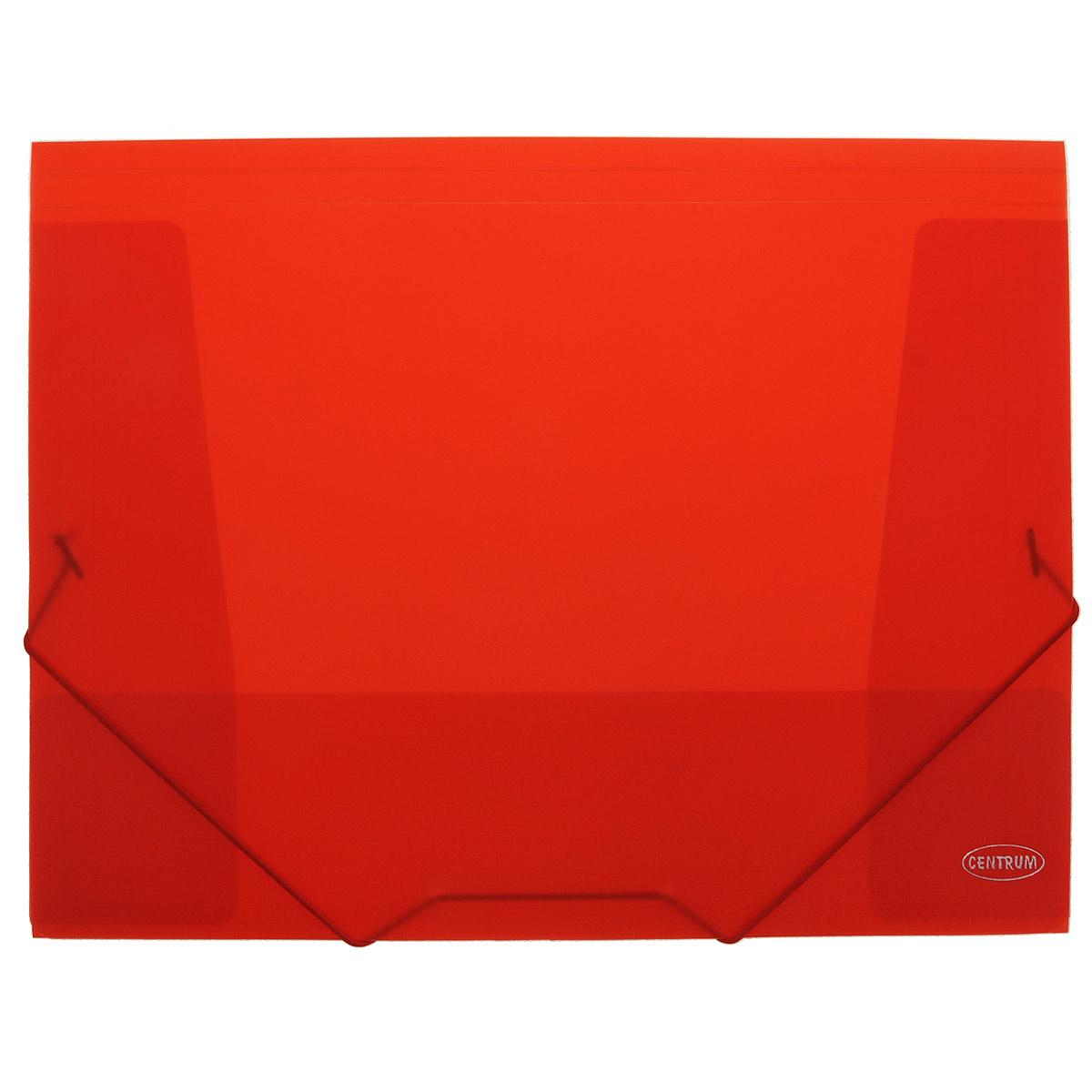 Папка на резинках Centrum пластиковая, формат А4, цвет: красный86833Папка-конверт на резинке Centrum - это удобный и функциональный офисный инструмент, предназначенный для хранения итранспортировки рабочих бумаг и документов формата А4.Папка с двойной угловой фиксацией резиновой лентой изготовлена из износостойкого полупрозрачного пластика. Внутри папка имеет три клапана, что обеспечивает надежную фиксацию бумаг и документов.Папка - это незаменимый атрибут для студента, школьника, офисного работника. Такая папка надежно сохранит ваши документы исбережет их от повреждений, пыли и влаги.
