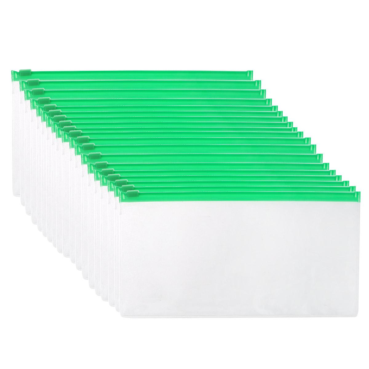 Centrum Папка-конверт на молнии цвет прозрачный зеленый 20 штFS-36052Папка-конверт Centrum - это удобный и практичный офисный инструмент, предназначенный для хранения и транспортировки рабочих бумаг и документов.Папка изготовлена из прозрачного пластика, закрывается на практичную застежку-молнию, имеет опрятный и неброский вид. В комплект входят 20 папок. Папка-конверт - это незаменимый атрибут для студента, школьника, офисного работника. Такая папка надежно сохранит ваши документы и сбережет их от повреждений, пыли и влаги.