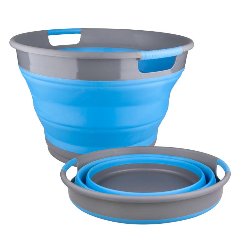 Корзина для белья Miolla, складная, цвет: серый, голубой, 9,5 л531-105Складная корзина для белья Miolla изготовлена из термопластичной резины и пластика. Благодаря гибкости и пластичности материала, корзина легко складывается и раскладывается. При этом пластиковые вставки отлично держат форму изделия. Корзина прекрасно подходит для хранения белья, различных бытовых вещей и других предметов. Для удобной переноски имеются ручки. Такая практичная и функциональная корзина пригодится в любом хозяйстве. Высота в сложенном виде: 6,8 см.