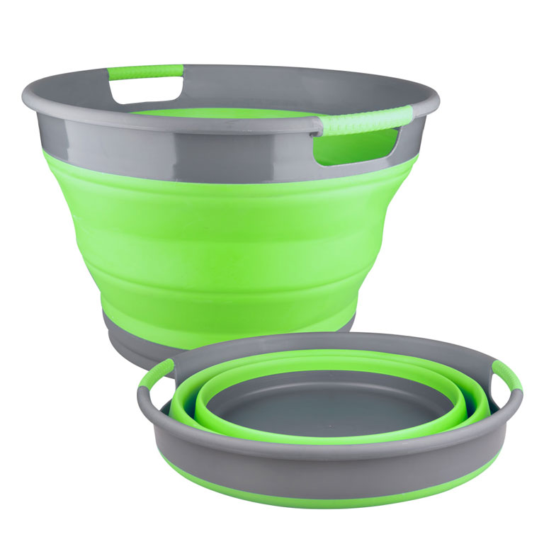Корзина для белья Miolla, складная, цвет: серый, зеленый, 9,5 л10503Складная корзина для белья Miolla изготовлена из термопластичной резины и пластика. Благодаря гибкости и пластичности материала, корзина легко складывается и раскладывается. При этом пластиковые вставки отлично держат форму изделия. Корзина прекрасно подходит для хранения белья, различных бытовых вещей и других предметов. Для удобной переноски имеются ручки. Такая практичная и функциональная корзина пригодится в любом хозяйстве. Высота в сложенном виде: 6,8 см.