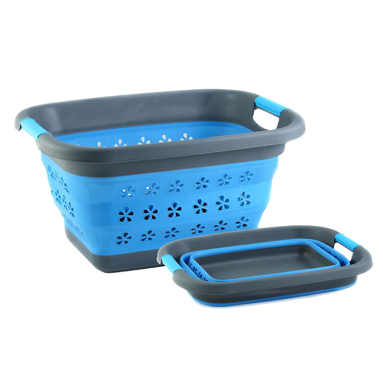 Корзина складная Miolla, цвет: серый, голубой, 11 л391602Прямоугольная складная корзина Miolla изготовлена из пластика и термопластичной резины, украшенной перфорацией в виде цветов. Благодаря гибкости и пластичности материала, корзина легко складывается и раскладывается. В сложенном состоянии занимает минимум места. Пластиковые вставки отлично держат форму изделия. Корзина прекрасно подходит для хранения белья, различных бытовых вещей и других предметов. Для удобной переноски имеются ручки. Такая практичная и функциональная корзина пригодится в любом хозяйстве. Высота в сложенном виде: 6,8 см.