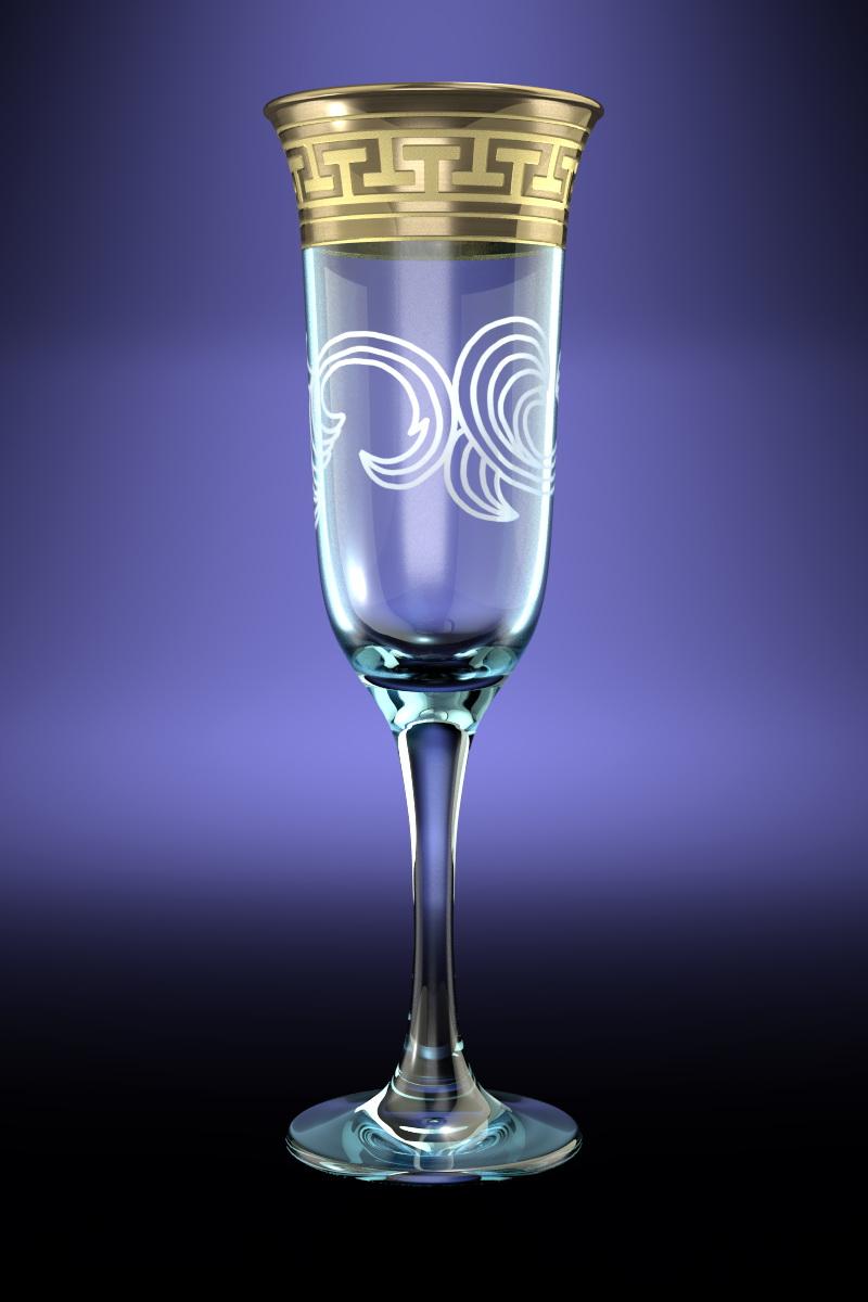 Набор 6 бокалов Ююнона  с рисунком Греческий узор 210 млVT-1520(SR)Набор 6 бокалов Ююнона  с рисунком Греческий узор 210 мл стекло