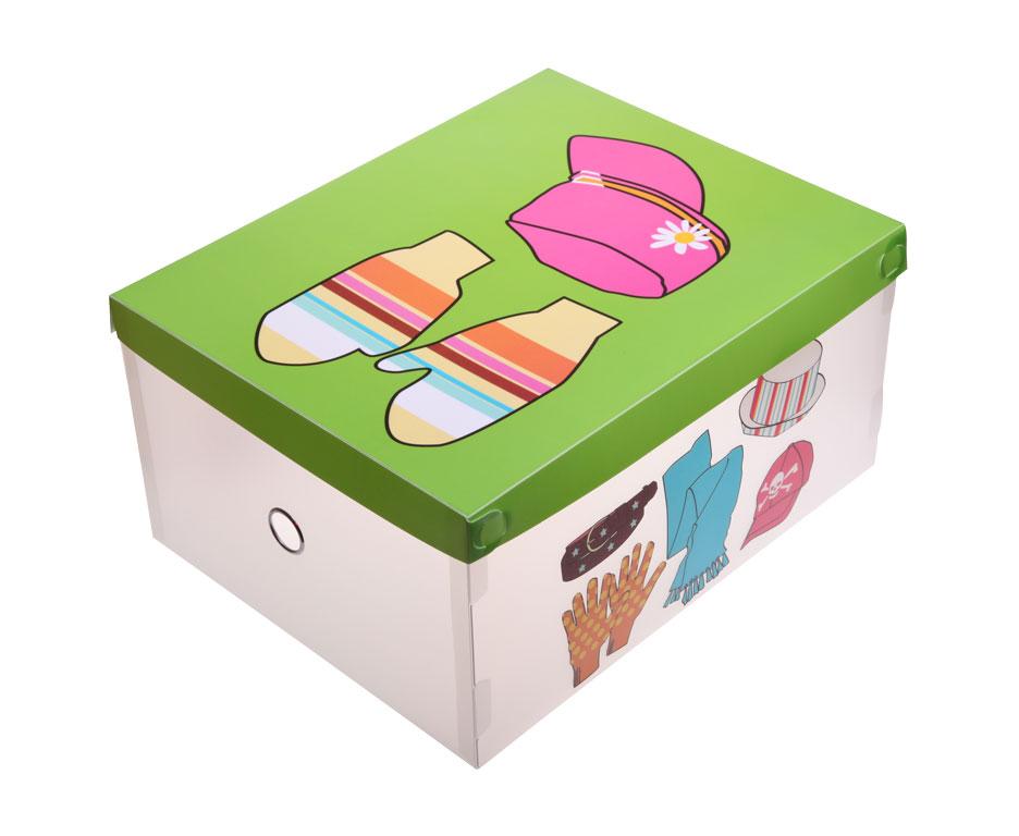 Короб для хранения одежды Miolla, 36 см х 28,5 см х 18 смRG-D31SКороб для хранения одежды Miolla изготовлен из полипропилена, оформлен красочным изображением шарфов, шапок и варежек. Предназначен для хранения одежды, головных уборов и аксессуаров. Снабжен крышкой, которая поможет защитить вещи от моли, пыли и влаги. В таком коробе очень удобно хранить вещи, они всегда будут в порядке и не потеряются. Яркий и практичный короб станет хорошим приобретением и пригодится в каждом доме.