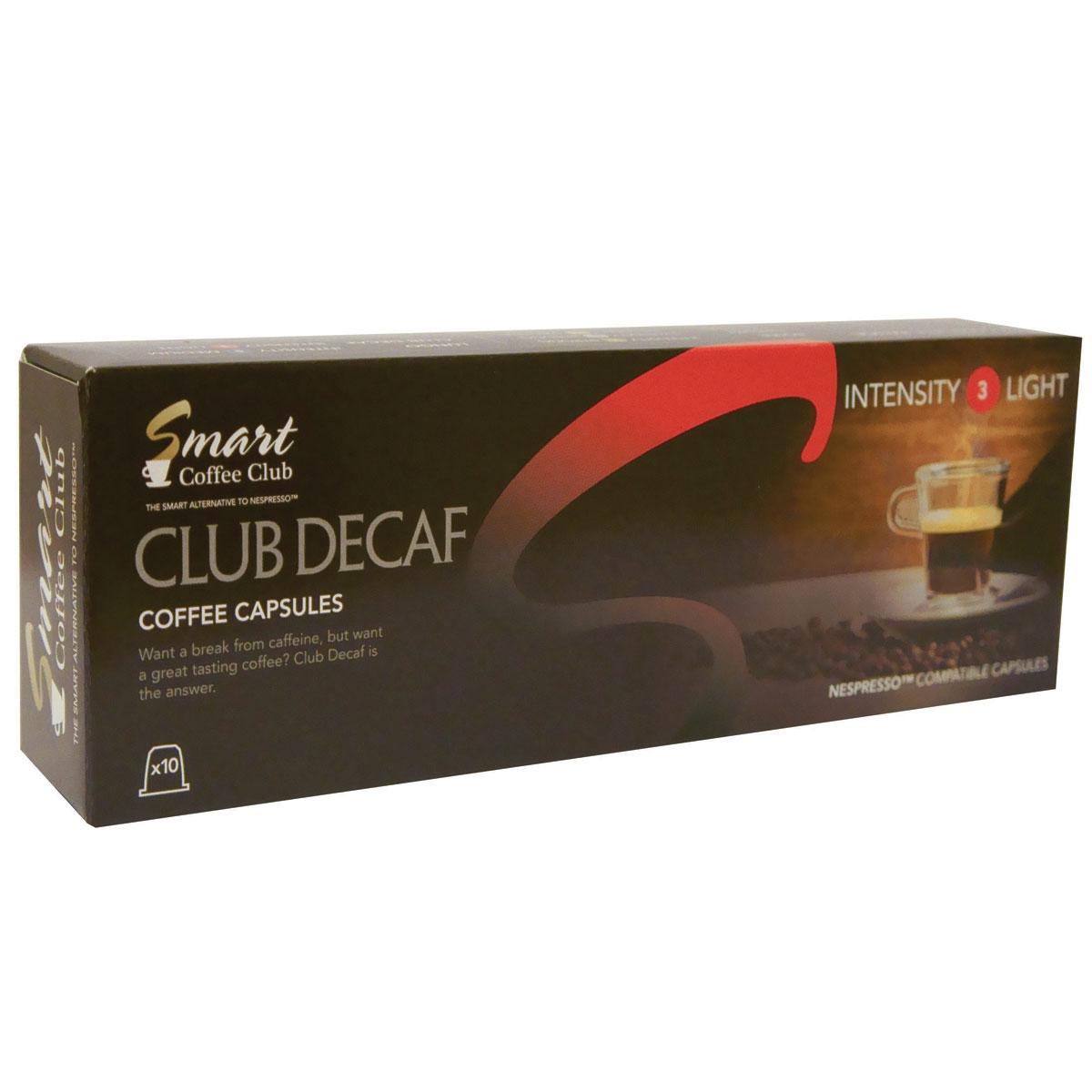 Smart Coffee Club Decaf кофе в капсулах, 10 штук5573063222122Традиционный деликатный вкус слегка обжаренной арабики Smart Coffee Club Decaf поможет вам расслабиться и насладиться моментом. Специально разработанная смесь с пониженным содержанием кофеина приготовлена без малейшего ущерба для вкуса и аромата напитка.