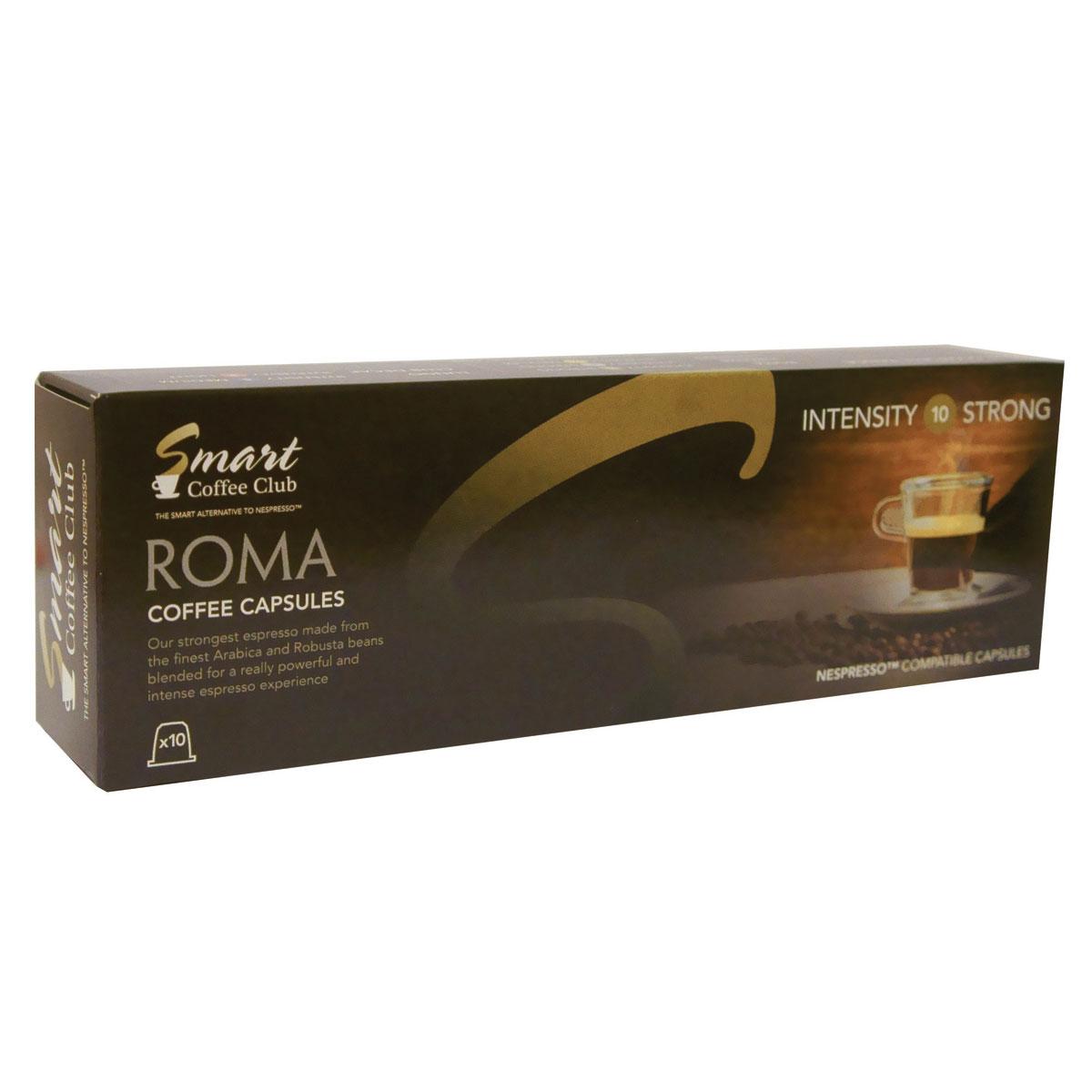 Smart Coffee Club Roma кофе в капсулах, 10 штук0120710Натуральный жареный молотый кофе в капсулах Smart Coffee Club Roma. Самая крепкая смесь, с использованием Арабики и Робусты из Центральной и Южной Америки. Идеальное начало дня для тех, кто любит крепкий, насыщенный, ароматный кофе.