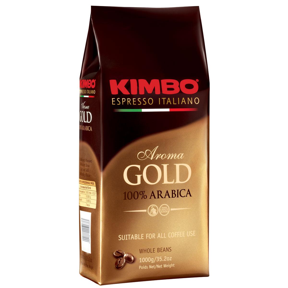 Kimbo Aroma Gold 100% Arabica кофе в зернах, 1 кг0120710Натуральный жареный кофе в зернах Kimbo Aroma Gold 100% Arabica. Смесь превосходной арабики отличается нежным вкусом, мягкой кислинкой и тонкимароматом. Состав смеси: 100% арабика.