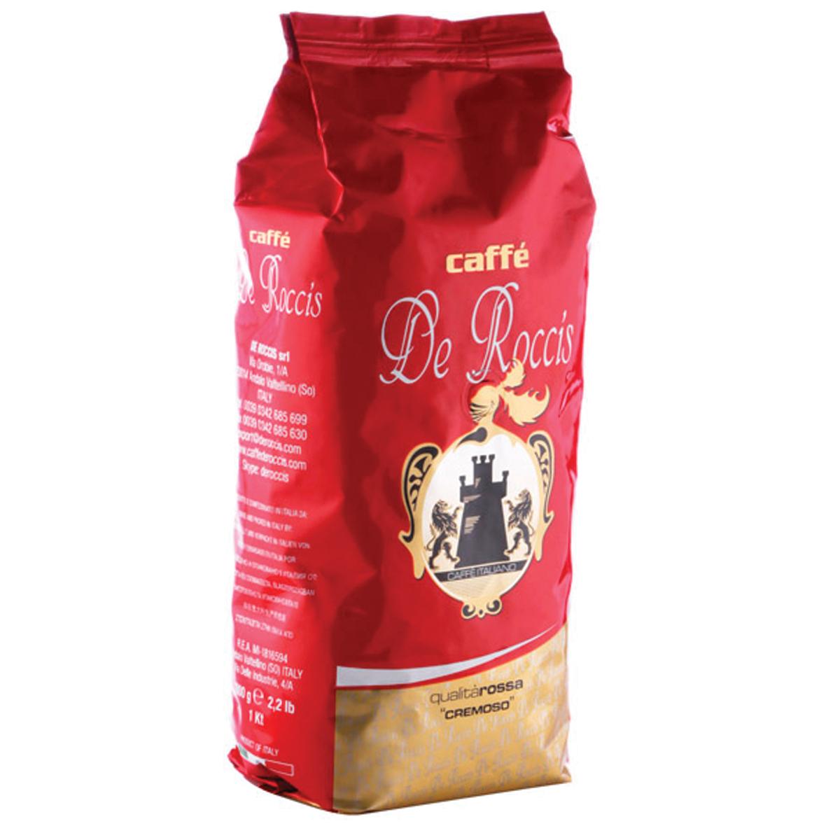 De Roccis Rossa кофе в зернах, 1 кг0120710Кофе натуральный жареный в зернах De Roccis Rossa. Кофейная смесь средней сладости из лучших сортов кофе Робуста и Арабика, придающих ей более четкий вкус, длительное послевкусие и тонкий аромат. Классический Итальянский эспрессо. Состав смеси: 85% арабика, 15% робуста.
