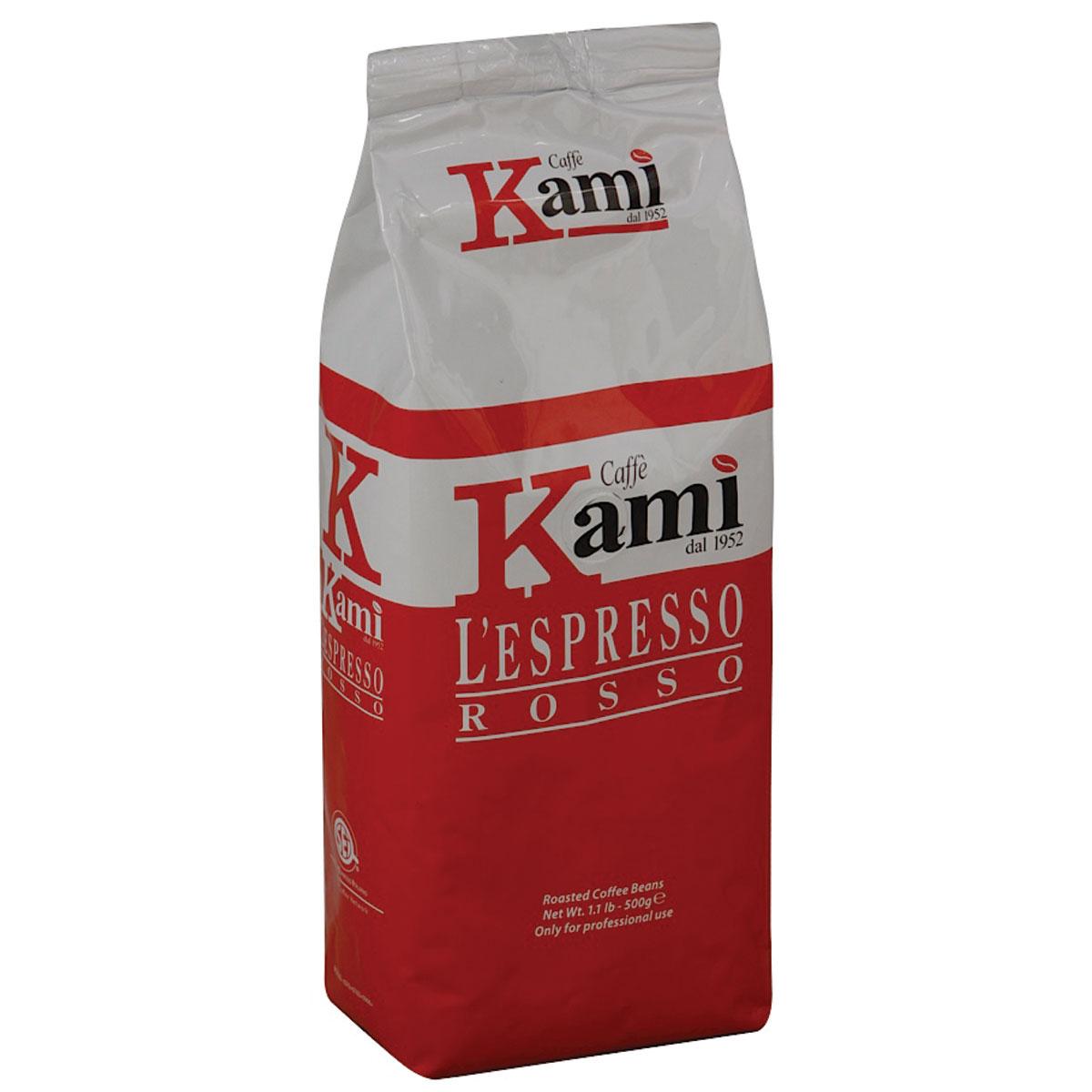 Kami Rosso кофе в зернах, 500 г8033300583029Натуральный жареный зерновой кофе Kami Rosso. Колумбийские зерна арабики, придающие высокую плотность и сбалансированный вкус, в сочетании с индонезийской робустой, подчеркивающей нотки горького шоколада, делают эспрессо незабываемым. Рекомендуется для приготовления ристретто, эспрессо, капучино. Состав смеси: 75% арабика, 25% робуста.