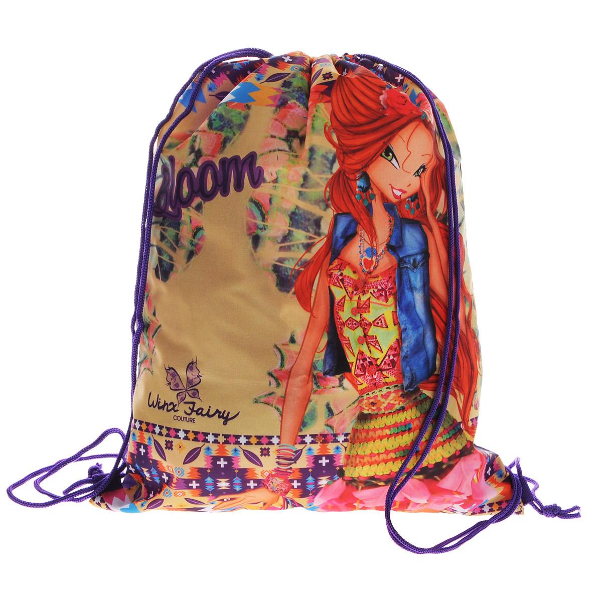 Winx Club Сумка-рюкзак для обуви Winx Fairy Couture цвет фиолетовый WXCB-UT1-883ММ-423-3/3Сумка для сменной обуви Winx Club Winx Fairy Couture идеально подойдет как для хранения, так и для переноски сменной обуви. Сумка выполнена из мягкого водоотталкивающего материала и дополнена одним вместительным отделением, затягивающимся с помощью кулисок. Шнурки фиксируются в нижней части сумки, благодаря чему ее можно носить за спиной как рюкзак.