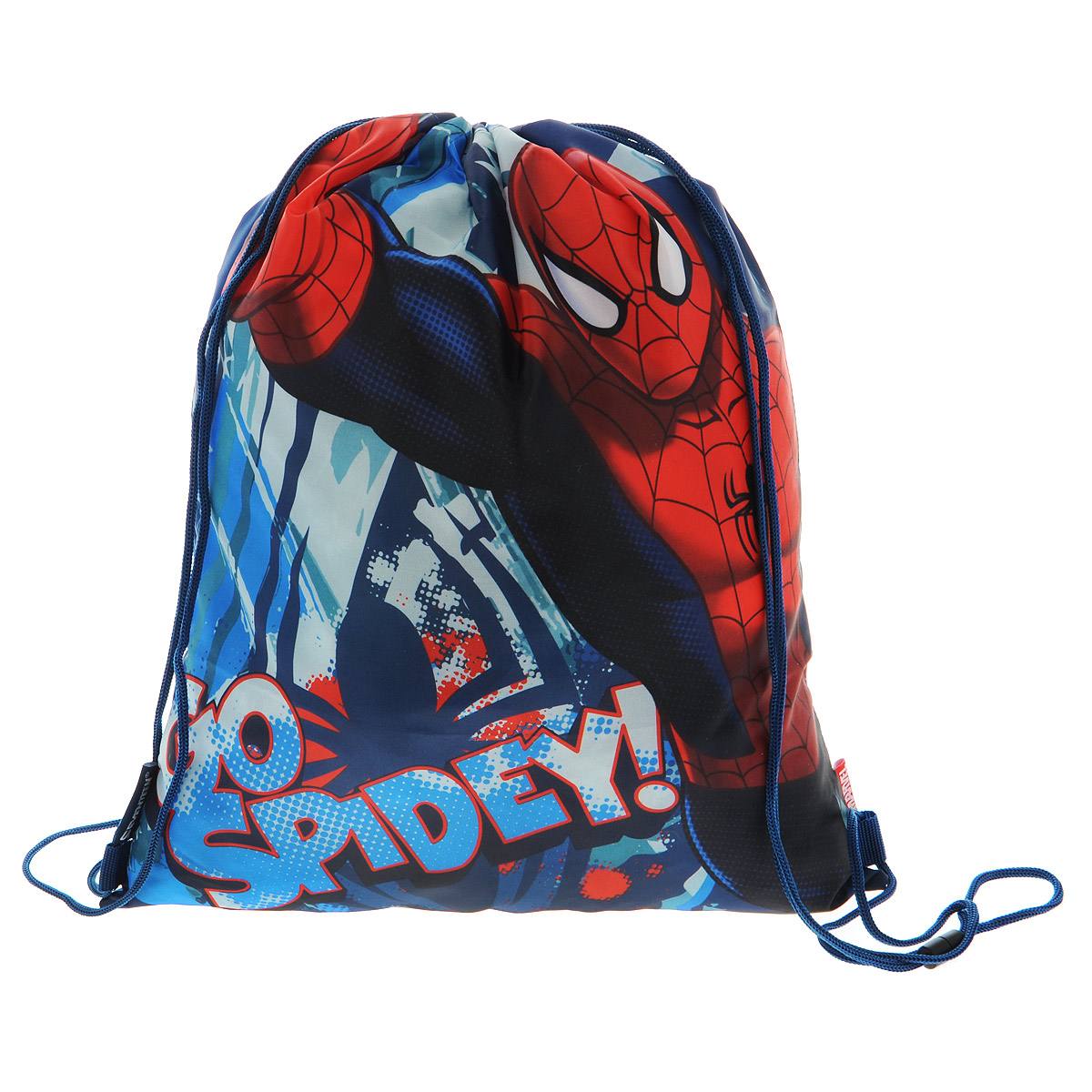 Spider-Man Сумка для сменной обуви Spider-man Classic цвет синий красныйSMCB-MT1-883Сумка для сменной обуви Spider-man Classic идеально подойдет как для хранения, так и для переноски сменной обуви и одежды. Сумка выполнена из прочного водонепроницаемого полиэстера и содержит одно вместительное отделение, затягивающееся с помощью текстильных шнурков. Шнурки фиксируются в нижней части сумки, благодаря чему ее можно носить за спиной как рюкзак.Оформлено изделие изображением любимого героя фильмов человеком-пауком. Ваш ребенок с радостью будет ходить с таким аксессуаром в школу.