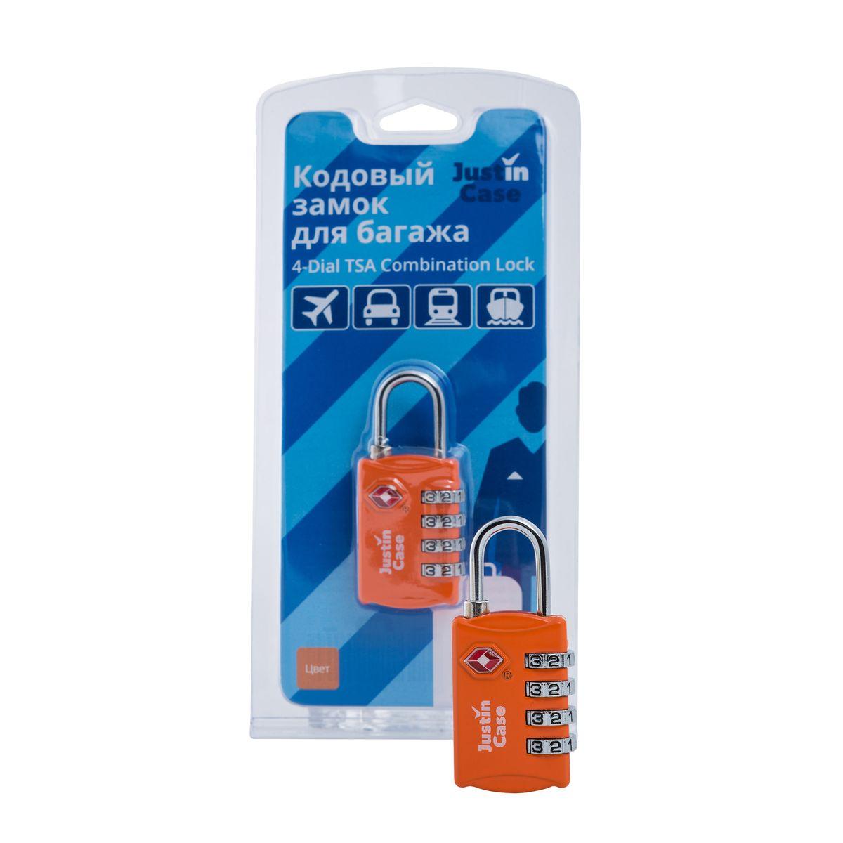 Замок кодовый для багажа JustinCase  4-Dial TSA Combination Lock , цвет: оранжевый - Замки для багажа