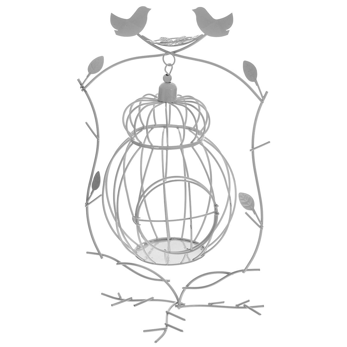 Клетка декоративная ScrapBerrys на подставке, цвет: белый, 14 х 23 х 31 см54 009312Декоративная клетка ScrapBerrys выполнена из высококачественного металла. Изделие украшено изящными коваными птичками с гнездом и веточками. Клетка оснащена крышкой, которая закрывается на специальный замок, а также подставкой.Такая клетка предназначена для скрапбукинга (для флористики), также она подойдет для декора интерьера дома или офиса. Кроме того - это отличный вариант подарка для ваших близких и друзей. Размер изделия: 14 см х 23 см х 31 см. Диаметр клетки: 14 см. Диаметр дна: 8 см.
