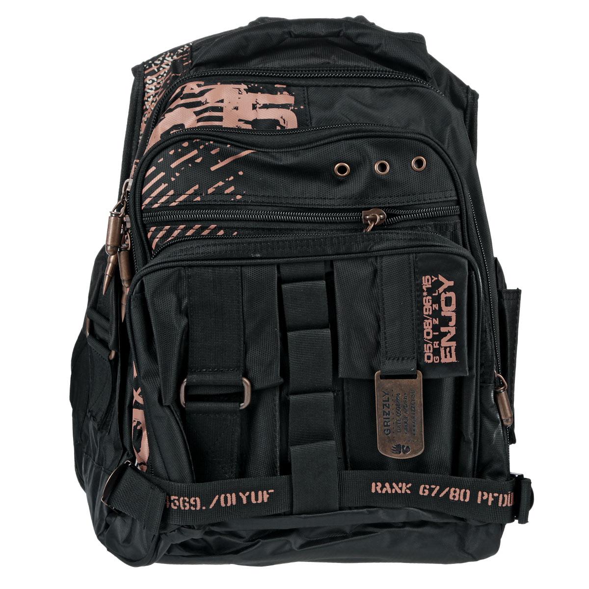 Рюкзак детский Grizzly, цвет: черный. РМ-113772523WDРюкзак с двумя отделениями, передними, боковыми и внутренними карманами, карманом-пеналом, с карманом на лямке для мобильного телефона, укрепленными жесткими лямками и спинкой