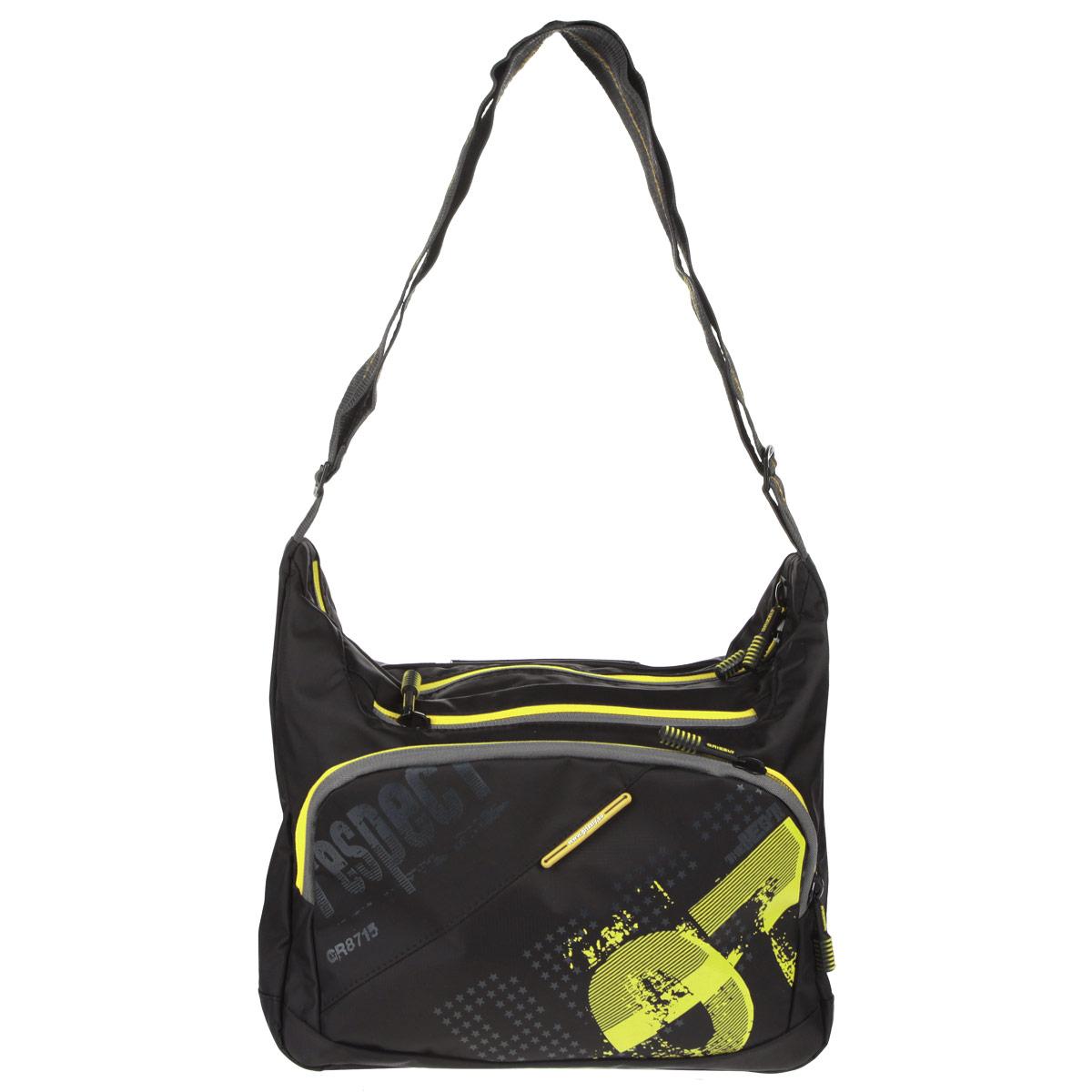Grizzly Сумка школьная цвет черный желтый72523WDСумка молодежная наплечная с одним отделением, передними, боковыми, задним и внутренними карманами, ручкой для переноски и регулируемым плечевым ремнем