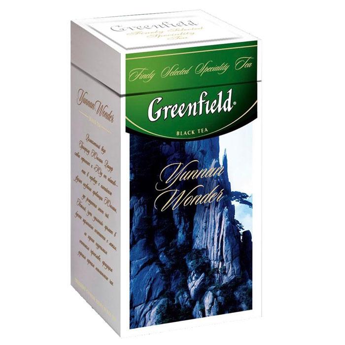 Greenfield Yunnan Wonder черный листовой чай, 125 г (ж/б)21144901Великолепный вкус Greenfield Yunnan Wonder словно переносит к югу от облаков - так в переводе с китайского звучит название провинции Юньнань, где рождается этот чай. Нежный, чуть дымный аромат в букете гармонично сочетается с легким, но хорошо ощутимым оттенком чернослива, присущим дорогим сортам юньнаньского чая