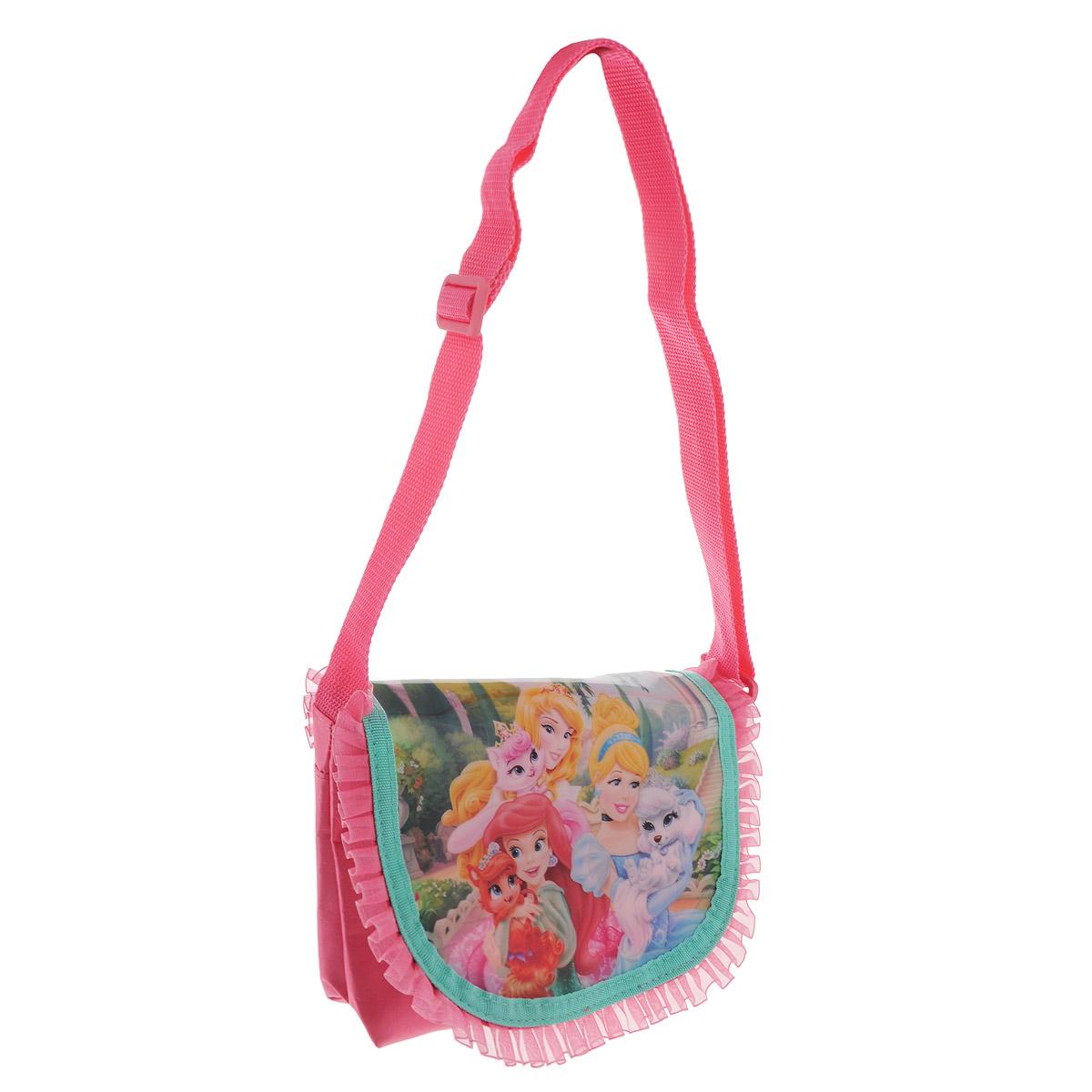 Сумочка Princess, цвет: розовый. PRCB-UT4-401272523WDСтильная сумочка Princess порадует любую модницу и поклонницу мультфильма.Сумочка имеет одно вместительное отделение на молнии, закрывающееся перекидным клапаном на липучке. Лицевая сторона сумочки оформлена изображением трех принцесс с животными. Сумочка оснащена ручкой для переноски в руке.Каждая юная поклонница популярного мультфильма будет рада такому аксессуару.