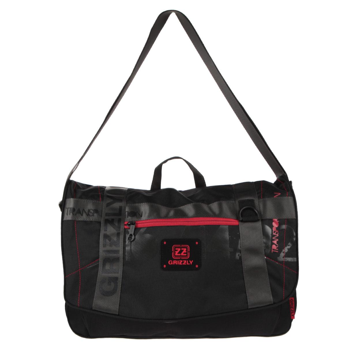 Grizzly Сумка школьная цвет черный красный72523WDСумка молодежная наплечная с одним отделением, передними, боковыми, задним и внутренними карманами, ручкой для переноски и регулируемым плечевым ремнем