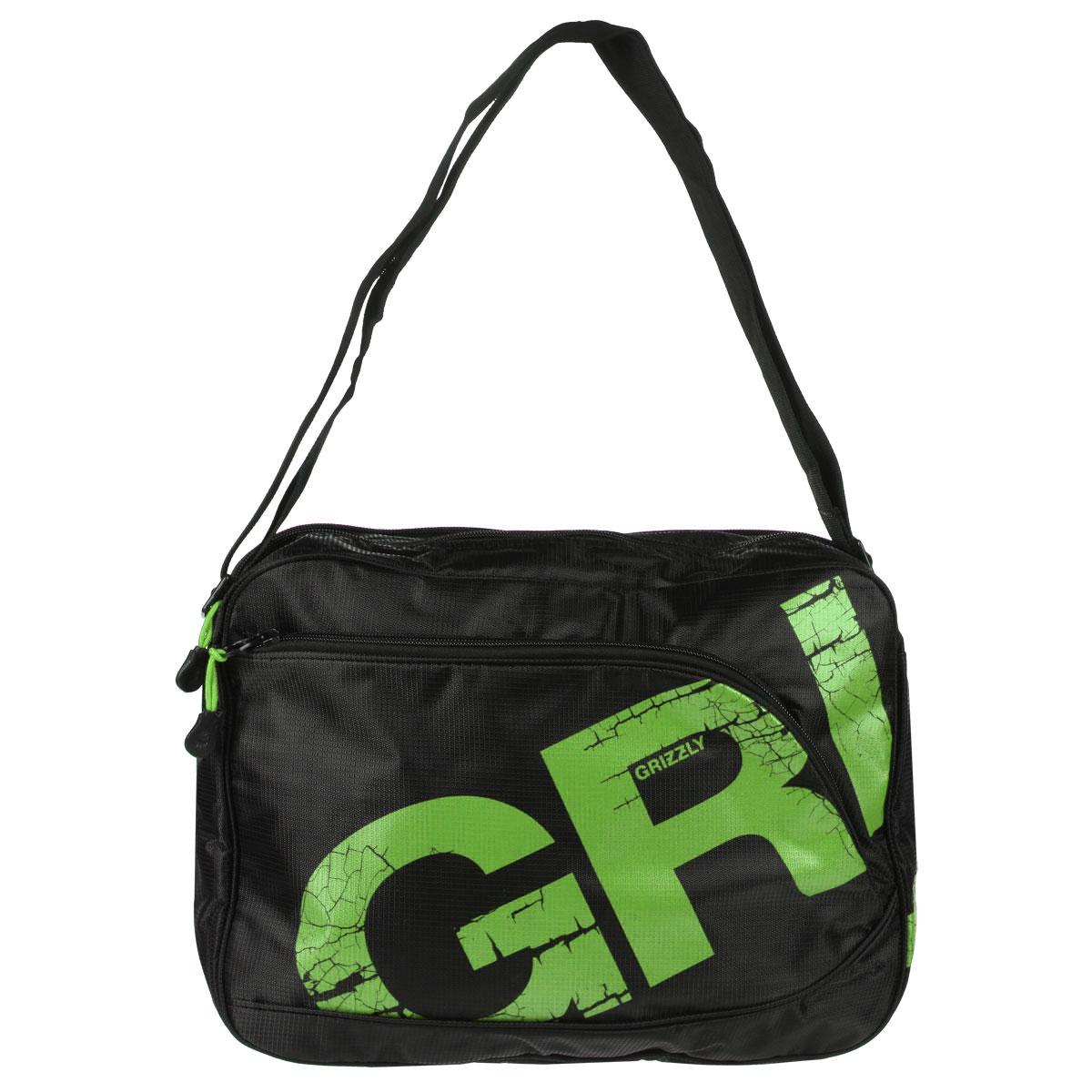 Grizzly Сумка школьная цвет черный салатовый MM-423-372523WDМолодежная сумка с двумя отделениями, застегивающимися на молнии. На сумке имеются множество карманов, на передней и задней стенках и внутри сумки. Имеется регулируемый ремень и ручка для переноски.