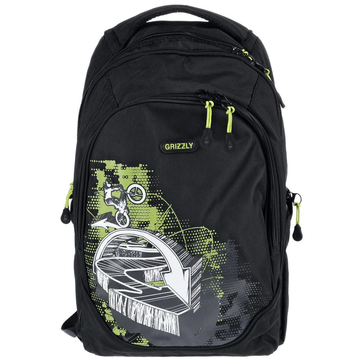 Школьный ранец Grizzly, цвет: серый, черный. RU-528-3/472523WDРюкзак молодежный с тремя отделениями, боковыми карманами на молнии, внутренними карманами на молнии, жесткой рельефной спинкой, анатомическими лямками, ручкой для переноски
