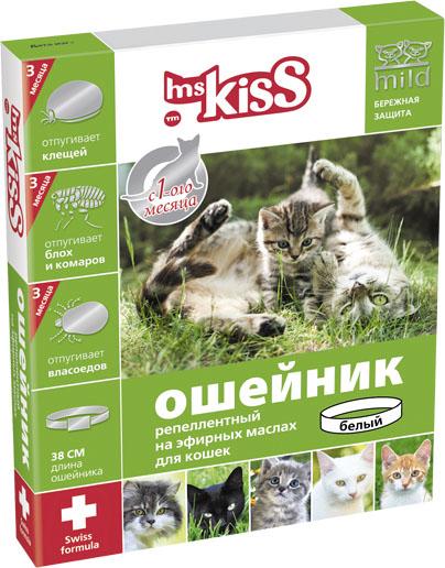 Ошейник для кошек Мисс Кисс, репеллентный, цвет: белый, длина 38 см0120710Ошейник репеллентный для кошек Мисс Кисс - безопасное и эффективное средство на основе натуральных эфирных масел цитронеллы и лаванды для отпугивания эктопаразитов кошек. Легко регулируется, поэтому подойдет как котятам с 1-го месяца жизни, так и взрослым кошкам. Эффективен в течение всего сезона, 3-х месяцев. Отпугивает блох, комаров, клещей, власоедов. Длина ошейника 38 см.