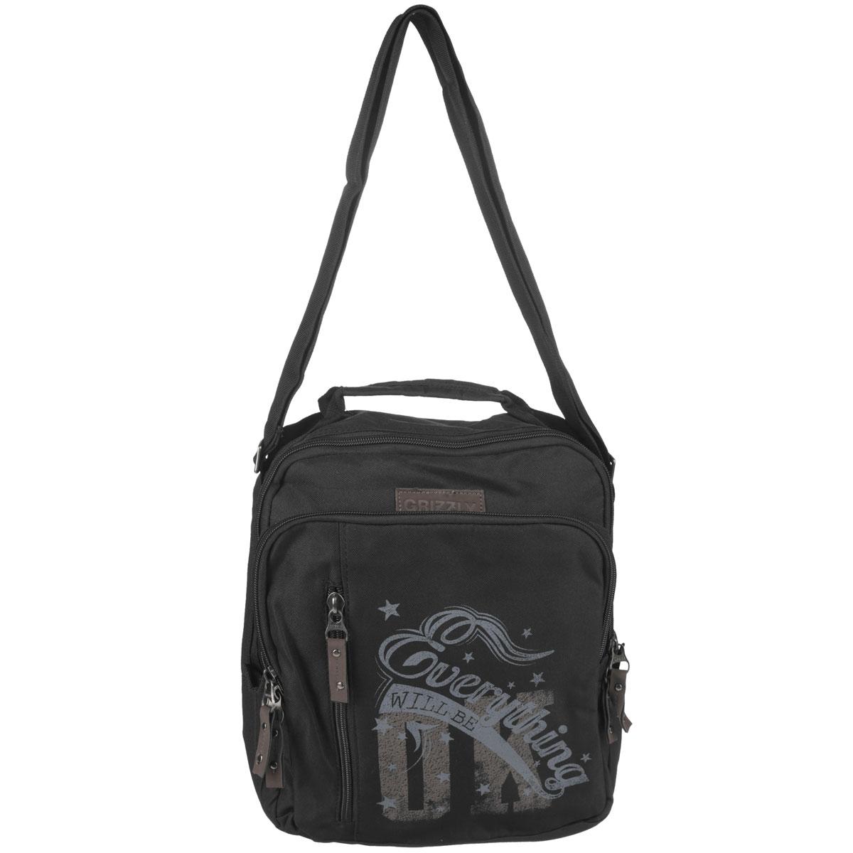 Сумка молодежная Grizzly, цвет: черный. MM-513-372523WDМолодежная сумка с одним отделением на молнии,с передними,задним и внутренним карманами.В переднем кармане имеется карман-органайзер.Сумка имеет укрепленное дно,ручку для переноски и регулируемый ремень.