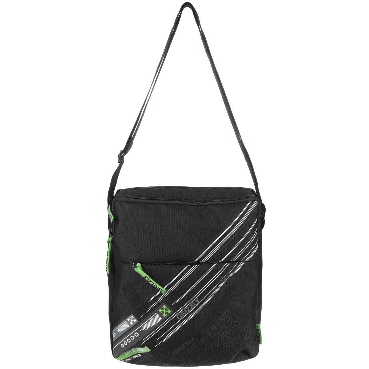 Grizzly Сумка школьная цвет черный салатовый11027/1/TG/1Молодежная сумка с одним отделением, с плоским карманом на передней и задней стенке, внутренним карманом для документов , с регулируемым плечевым ремнем