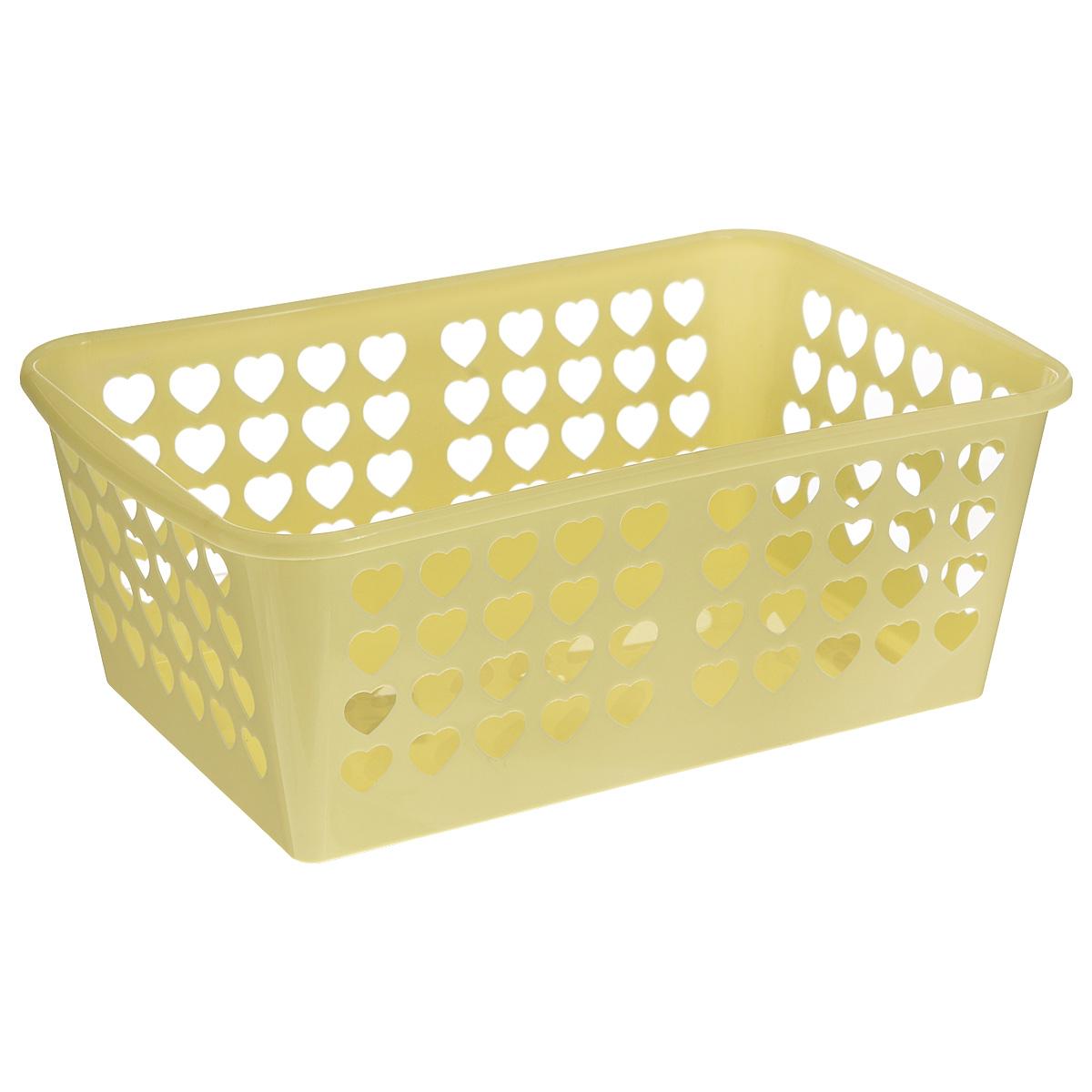 Корзина Альтернатива Вдохновение, цвет: желтый, 30 х 20 х 11,5 смTD 0033Корзина Альтернатива Вдохновение выполнена из пластика и оформлена перфорацией в виде сердечек. Изделие имеет сплошное дно и жесткую кромку. Корзина предназначена для хранения мелочей в ванной, на кухне, на даче или в гараже. Позволяет хранить мелкие вещи, исключая возможность их потери.