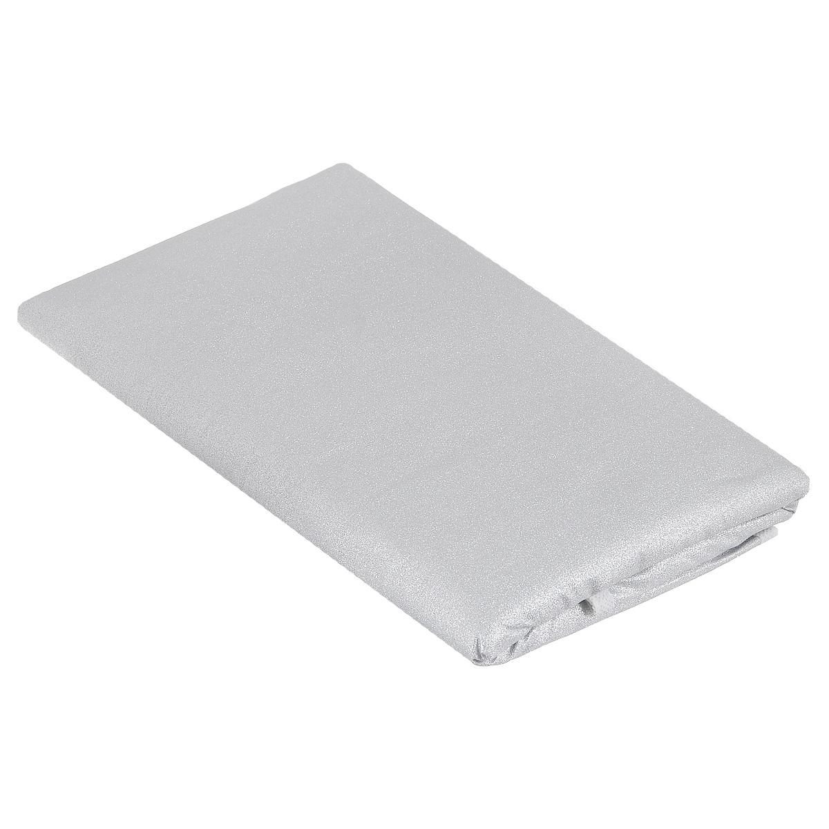 Чехол для гладильной доски Eva, цвет: серебристый, 156 х 53 смGC013/00Чехол для гладильной доски Eva выполнен из хлопчатобумажной ткани с термостойким тефлоновым покрытием и поролоновой подкладкой. Чехол предназначен для защиты или замены изношенного покрытия гладильной доски. Благодаря удобной системе фиксации легко крепится к гладильной доске. Этот качественный чехол обеспечит вам легкое глажение. Размер чехла: 156 см x 53 см. Размер доски, для которой предназначен чехол: 148 см x 46 см.