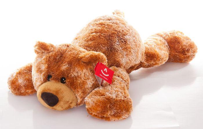 AURORA Игрушка мягкая Медведь коричневый лежачий 35 см