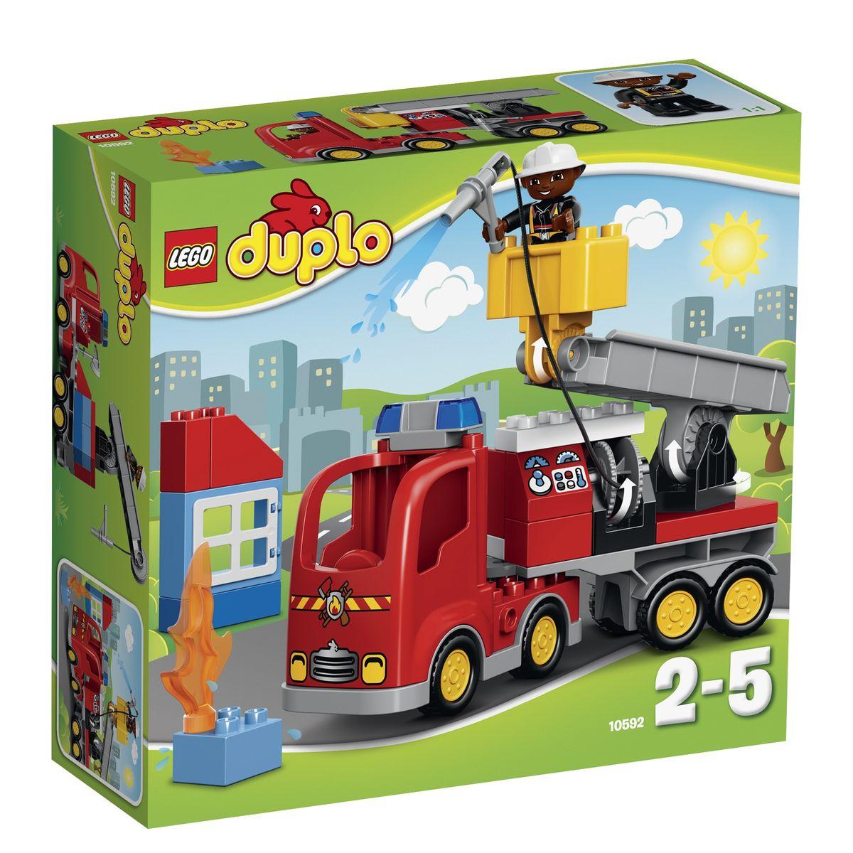 Пожарный грузовик из конструктора LEGO DUPLO готов приступить к работе! Его массивный корпус выполнен из ярко-красных деталей. Спереди видна кабина водителя, оборудованная радиаторной решеткой, противотуманными фарами и сигнальными огнями. За кабиной организована прямоугольная панель, имеющая несколько назначений. При желании здесь можно разместить систему пожаротушения со шлангом, приборной панелью и багажным отсеком для перевозки инвентаря. Но, если возгорание произошло в высотном здании, то пожарному придется воспользоваться дополнительным оборудованием. Для этого к багажной панели необходимо присоединить транспортировочную платформу, состоящую из прочного основания и подъемного крана с люлькой. Для удобства пожарного вся конструкция очень мобильна. Она может не только подниматься и опускаться, подстраиваясь под высоту здания, но и вращаться вокруг своей оси. Игра с конструктором развивает мелкую моторику ребенка, фантазию и воображение, учит его...