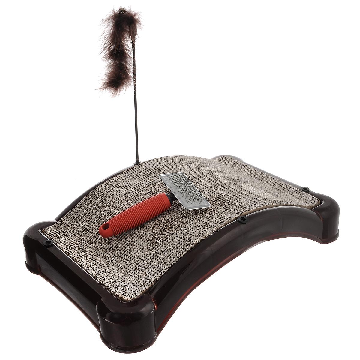 Когтеточка Bradex Царапка, с игрушкой и щеткой для шерсти0120710Когтеточка Bradex Царапка, изготовленная из высококачественного пластика и гофрокартона с добавлением кошачьей мяты, поможет сохранить мебель и ковры в доме от когтей вашего любимца, стремящегося удовлетворить свою естественную потребность точить когти. Товар продуман в мельчайших деталях и, несомненно, понравится вашей кошке.Компактная когтеточка обладает достаточно широкой поверхностью для стачивания коготков, что подарит вашей кошке свободу передвижения на ней, возможность потянуть спинку или выгнуться. Кроме того, во время царапания происходит нагрузка на мышечный аппарат, что является прекрасной физической тренировкой для животного. А также на когтеточке Bradex Царапка стачиваются старые омертвевшие слои когтей, что благотворно влияет на здоровье и настроение питомца. Это намного безопаснее, чем подстригать когти ножницами или специальными щипцами, рискуя повредить ногтевую пластину и причинить животному дискомфорт. Встроенная в когтеточку забавная игрушка несомненно привлечет вашего питомца и подарит ему радость приятного времяпрепровождения, пока ваша мебель будет цела и невредима. В качестве бонуса в комплект входит удобная и надежная щетка для вычесывания шерсти.Размер когтеточки: 45 см х 27 см х 11 см. Длина игрушки: 25 см. Длина щетки: 16 см. Размер рабочей поверхности щетки: 9 см х 4,5 см.Товар сертифицирован.