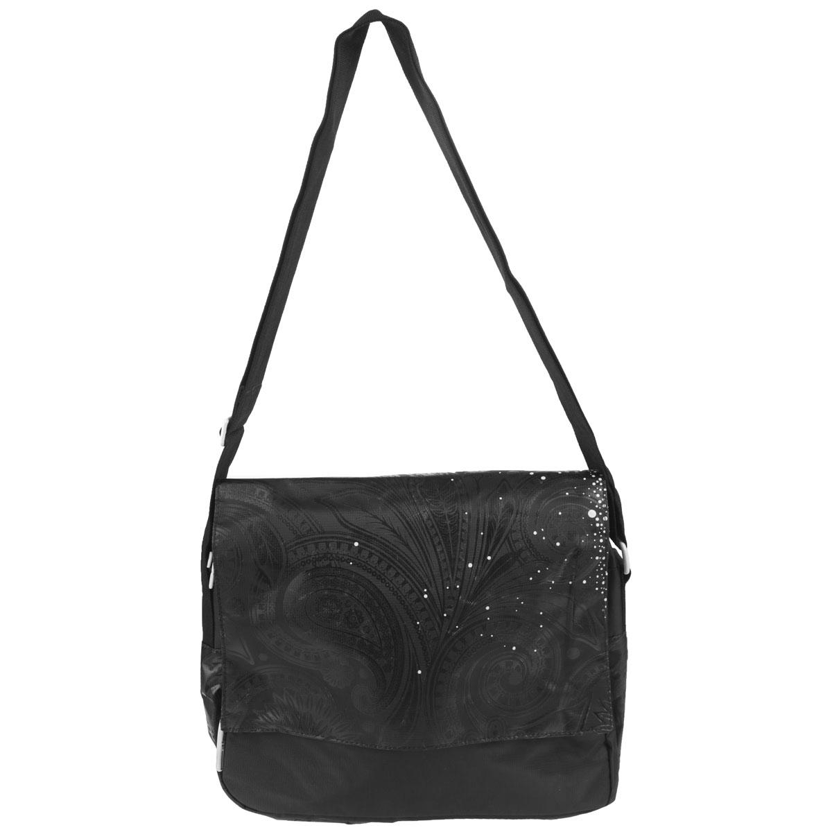 Сумка молодежная Grizzly, цвет: черный. MD-430-237125Молодежная сумка с двумя отделениями, клапаном, плоскими карманами на передней и задней стенках, внутренним карманом, с регулируемым плечевым ремнем