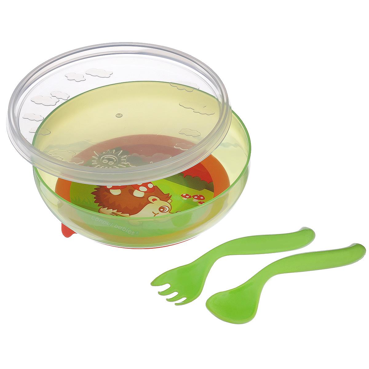"""Набор детской посуды """"Canpol Babies"""", изготовленный из прочного и безопасного полипропилена, включает в себя тарелочку с крышкой, вилку и ложку. Тарелочка с удобной присоской, идеально подойдет для кормления малыша, и самостоятельного приема им пищи. Специальная присоска фиксирует тарелочку на столе, благодаря чему она не упадет, еда не прольется. Изделие оформлено ярким рисунком. В комплект к тарелочке входит крышка, которая позволит сохранить остатки еды. Ручки ложечки и вилки специальной формы, благодаря которой малышу будет удобно кушать самостоятельно. Объем тарелки: 450 мл."""