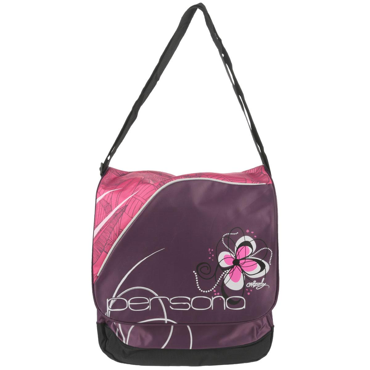 Сумка молодежная Grizzly, цвет: фиолетовый, розовый. MD-428-237462Сумка молодежная с одним отделением и клапаном, двумя плоскими и объемным карманом на передней стенке, карманом на молнии на задней стенке, с внутренними карманами, регулируемым плечевым ремнем