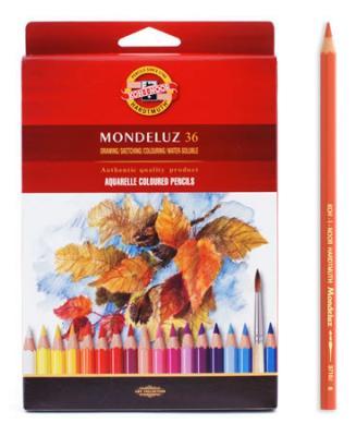Набор карандашей акварельных MONDELUZ, 36 цв3719/36Высококачественные цветные акварельные (размываемые водой) карандаши. Яркие и насыщенные цвета, линии мягко ложатся на бумагу. Грифель устойчив к механическим деформациям, легко затачивается. Древесина - кедр. Покрытие - цветной лак на водной основе, тиснение золотом.