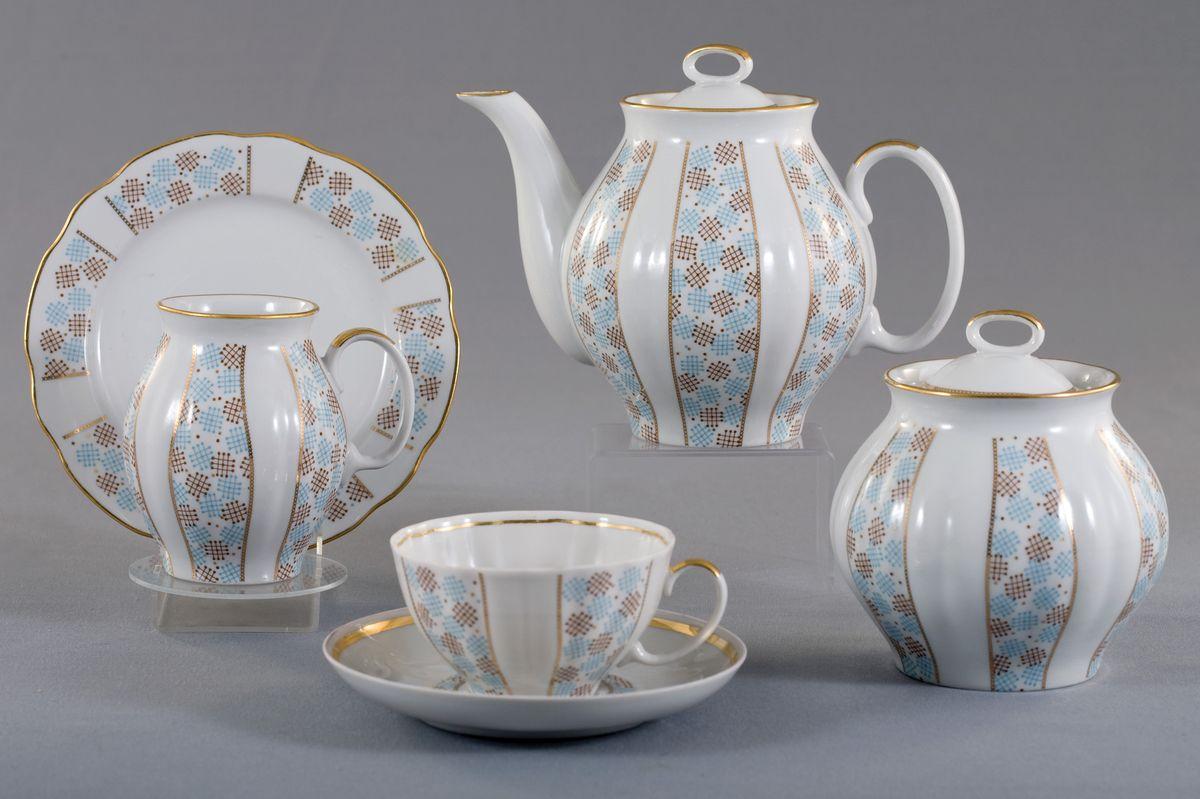 Сервиз чайный 21 пред. Белый лебедь КонфеттиVT-1520(SR)Сервиз чайный 21 пред. Белый лебедь Конфетти фарфор