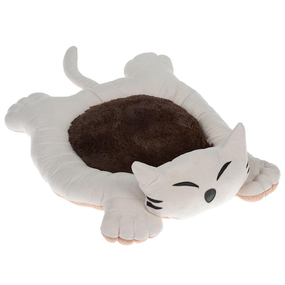 Лежак для собак и кошек I.P.T.S. Sylvester, цвет: бежевый, коричневый, 56 см х 44 см х 14,5 см0120710Мягкий и уютный лежак для кошек и собак I.P.T.S. Sylvester обязательно понравится вашему питомцу. Лежак выполнен в виде кота. Он изготовлен из нежного, приятного материала. Внутри - мягкий наполнитель, который не теряет своей формы долгое время.Мягкий, приятный и теплый лежак обеспечит вашему любимцу уют и комфорт. Подходит как для кошек, так и для маленьких, карликовых пород собак.За изделием легко ухаживать, можно стирать вручную или в стиральной машине при температуре 30°С. Материал бортиков: искусственная замша.Материал матрасика: плюш.Наполнитель: полифибер.Товар сертифицирован.