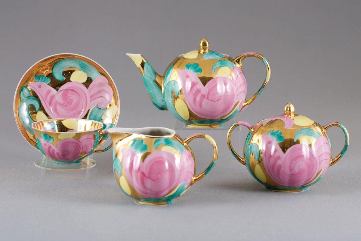 Сервиз чайный 15 предм. Тюльпан Розовая птица115510Сервиз чайный 15 предм. Тюльпан Розовая птица фарфор