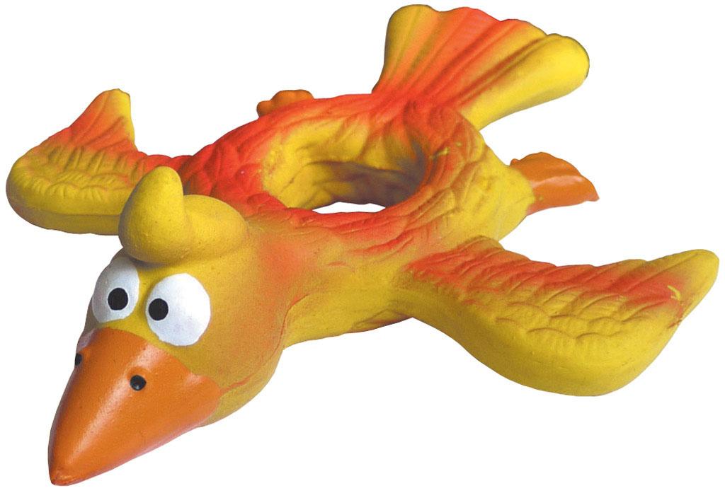 Игрушка для собак V.I.Pet Орел, с пищалкой, цвет: желтый, зеленый. L-1350120710Прочная игрушка V.I.Pet Орел с пищалкой, изготовленная из натурального латекса с использованием только безопасных, не токсичных красителей, предназначена для собак различных пород. Великолепно подходит для игры и массажа десен вашей собаки. Игрушка не позволит скучать вашему питомцу ни дома, ни на улице.