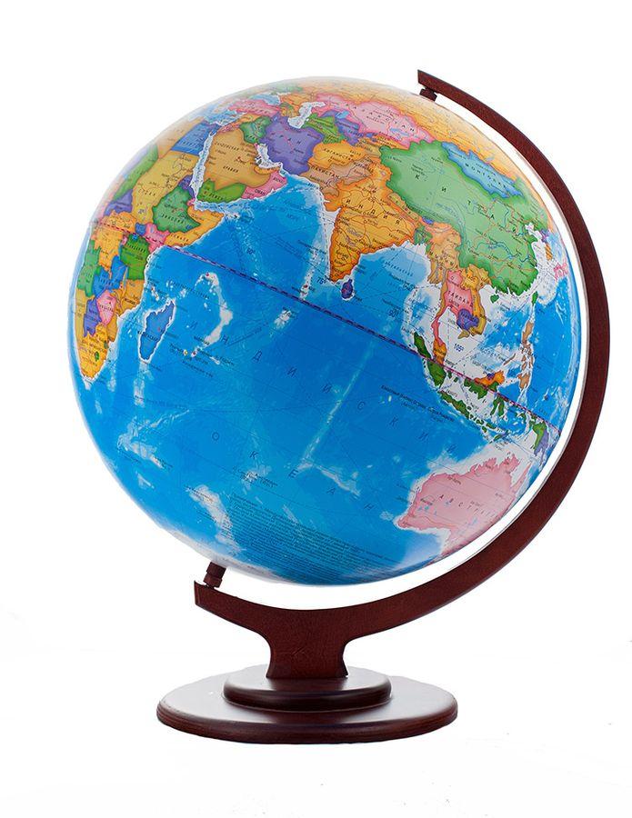 Глобусный мир Глобус политический настольный на деревянной подставке диаметр 42 см