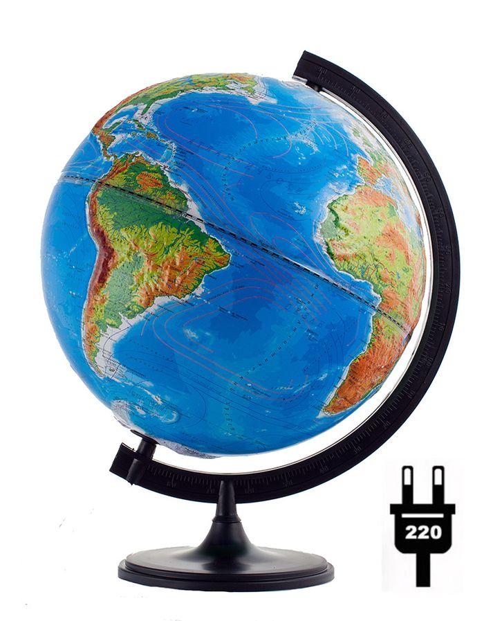 Глобусный мир Глобус с физической/политической картой мира рельефный диаметр 32 см с подсветкойFS-00897Рельефный глобус с физической и политической картой мира станет незаменимым атрибутом обучения не только школьника, но и студента.На глобусе имеются направления и названия подводных течений и ветров. А также столицы государств, государственные границы и другие населенные пункты. С помощью данного глобуса можно получить правильное представление о форме, размерах, расположении материков, океанов, островов, морей и рек. Модель имеет рельефную выпуклую поверхность, что, в свою очередь, делает глобус особенно интересным для детей младшего школьного и дошкольного возрастов. Названия стран на глобусе приведены на русском языке. Помимо этого глобус обладает приятной цветовой гаммой. Изделие расположено на пластиковой подставке и имеет подсветку.Настольный глобус Глобусный мир станет оригинальным украшением рабочего стола или вашего кабинета. Это изысканная вещь для стильного интерьера, которая станет прекрасным подарком для современного преуспевающего человека, следующего последним тенденциям моды и стремящегося к элегантности и комфорту в каждой детали.Масштаб: 1:40 000 000.