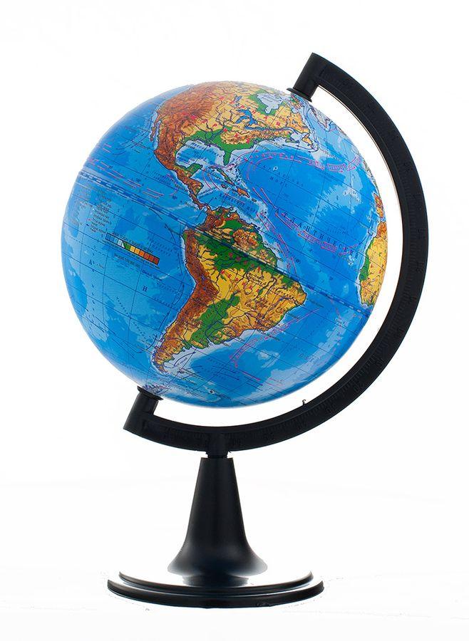 """Глобус с физической картой """"Глобусный мир"""", изготовленный из высококачественного прочного пластика, показывает страны мира, сухопутные и морские границы того или иного государства, расположение городов и населенных пунктов. На нем отображены картографические линии: параллели и меридианы, а также градусы и условные обозначения. На глобусе имеются направления, названия подводных течений и ветров. С помощью данного глобуса можно получить правильное представление о форме, размерах, расположении материков, океанов, островов, морей и рек. Модель имеет рельефную выпуклую поверхность, что, в свою очередь, делает глобус особенно интересным для детей младшего школьного и дошкольного возрастов. Названия стран на глобусе приведены на русской язык. Помимо этого глобус обладает приятной цветовой гаммой. Изделие расположено на подставке. Настольный глобус с физической картой """"Глобусный мир"""" станет оригинальным украшением рабочего стола или вашего кабинета. Это изысканная вещь..."""