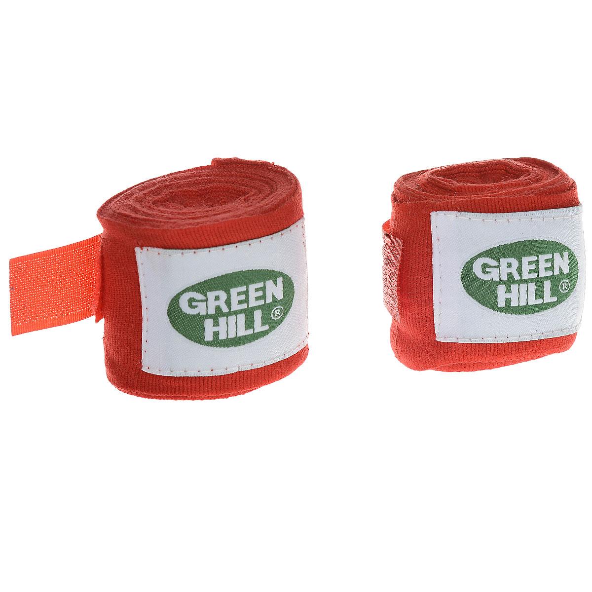 Бинты боксерские Green Hill, эластик, цвет: красный, 3,5 м, 2 штadiBP03Бинты Green Hill предназначены для защиты запястья во время занятий боксом. Изготовлены из высококачественного хлопка с добавлением эластана. Бинты надежно закрепляются на руке застежкой на липучке.Длина бинтов: 3,5 м.