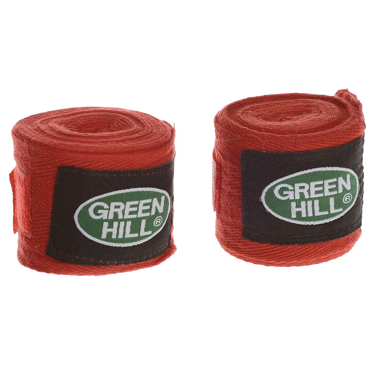 Бинты боксерские Green Hill, хлопок, цвет: красный, 2,5 м, 2 штВР-6232-25Бинты Green Hill предназначены для защиты запястья во время занятий боксом. Изготовлены из высококачественного хлопка. Бинты надежно закрепляются на руке застежкой на липучке.Длина бинтов: 2,5 м.